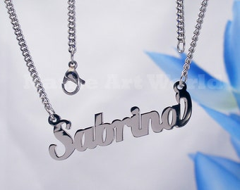 Sabrina  name necklaces. stainless steel. next day ship. never tarnishes. shiny silver color