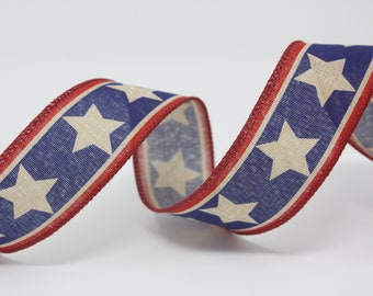 """1.5"""" Red White Blue Wired Ribbon Patriotic American Flag Stars Stripes Americana Rustic Wreath 3 OR 5 YARDS 4th of July"""