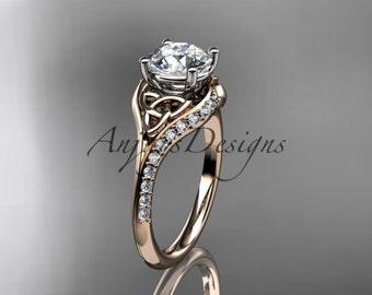 14kt  rose gold diamond celtic trinity knot wedding ring, engagement ring  CT7125