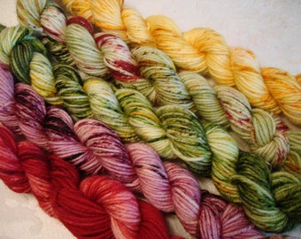 READY TO SHIP, Hand Dyed 5 set Sprinkle Mini skein, Sport/Lt Dk weight, Color - It's Starting to Look a Lot Like Christmas Sprinkles