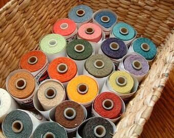 Irish Waxed Linen Thread, Bookbinding Thread, 4 ply, Choose a color, 5 yards