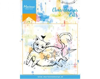 Stamp clear Marianne Design, Cats, big cat, mixed media, Scrapbooking, Cardmaking, crafting