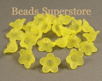 FINAL SALE 13 mm x 7 mm Yellow Lucite Flower Bead - 24 pcs