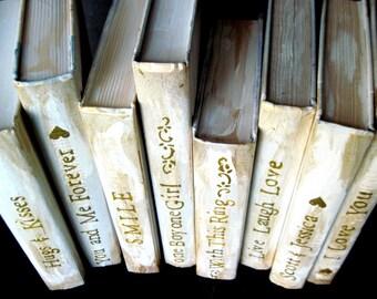 Custom Wedding Decor, Romantic Books, Beach Wedding, Boho Wedding, Gold Wedding Books, Wedding Shower Decor, Wedding Table Decor, Wedding