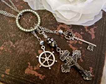Smooth Sailing Ahead: Rosary Choker Necklace Vintage Assemblage Antique Cross Ship Wheel Key Crystals Boho Bride Wedding One of a Kind