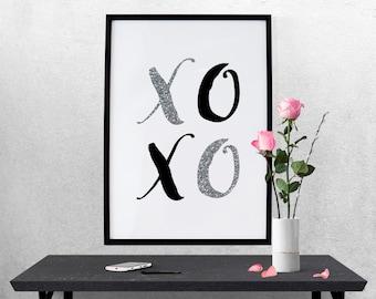 XOXO Hugs Kisses Silver Glitter Black Typography Nursery Home Office 8x10 Wall Art Decor Print Digital Download