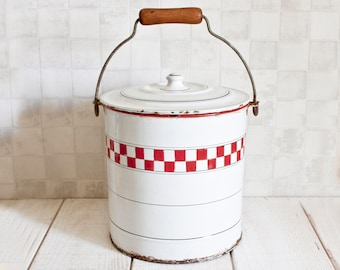 Antique French Red and White Checkered Pattern Enamel Bucket with Lid || Lustucru Pattern - Home Decor - Country Style