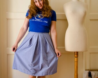 Blue Gingham skirt with Pleats, Cotton Summer Skirt