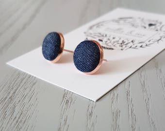 Rose gold and denim fabric earrings/ rose gold earrings/ rose gold/ denim fabric/ denim earrings/ fabric buttons/ fabric earrings