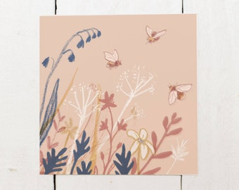 Bees and Flowers - Square Greeting Card