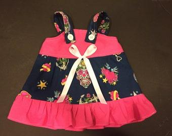 Sugar Skull Anchor Heart Key Baby Infant Toddler Girls Dress  You Pick Size