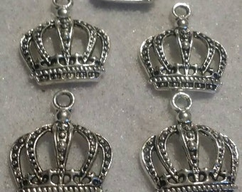 5 silver crown charms