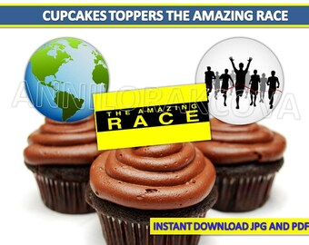 Amazing Race cupcake toppers, The Amazing Race party printables, You print, 60% OFF