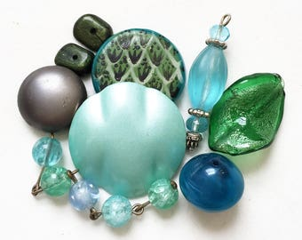 destash of soothing blue green gray repurposed jewelry components for creating assemblages--mixed lot of 9 items