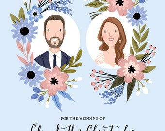 Custom Illustrated Couple Portrait Save the Date Card - Printable DIY -  Digital File Only