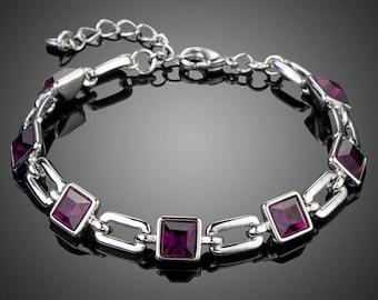 Purple Link Chain Lobster Bracelet