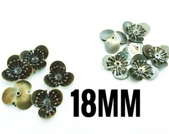 10 pcs, 18mm, 2 Layer Riveted Brass Flower, mutli layered, Riveted flower