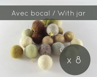Thumbtacks 8/beige push pins/felt balls/pins/pompoms/cork board/christmas stocking/office accessorie/made in Canada/professor gift/gift idea