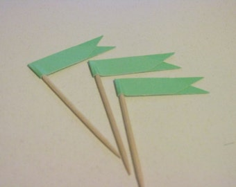 12 Flag cupcake toppers-mint green food picks