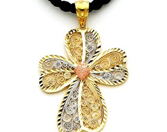 14k Gold Cross, Gold Cross, Filigree Cross, Tricolor Cross, Religious, Religious Jewelry, 14k Gold Filigree Cross, Tricolor Filigree Cross