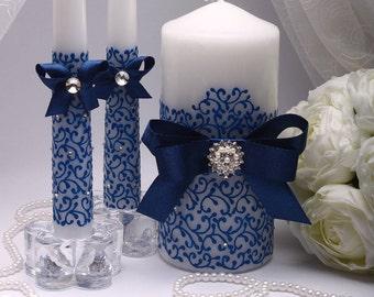 Unity candle navy blue Unity candle set Wedding unity candle set Personalized unity candle Ceremony unity candles set Wedding Unity Candle
