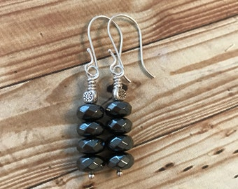 Hematite and Fine/Sterling Silver Earrings - Free U.S. Shipping