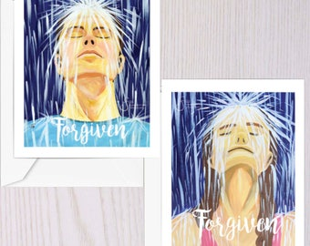 Forgiven, Set of 2 Inspirational Greeting Cards of Adult Man and Woman in Rain. Christian Baptism for couple. Designed from paintings NC141c