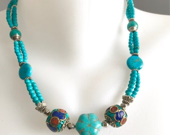 Multistrand necklace, Turquoise necklace, Beaded necklace, Blue necklace, Coin turquoise necklace, Statement necklace, Ethnic jewellery