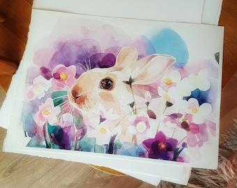 Watercolor art, original painting,bunny, rabbit, sweet baby.