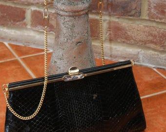 Vintage 1970's Snakeskin Shoulder Handbag