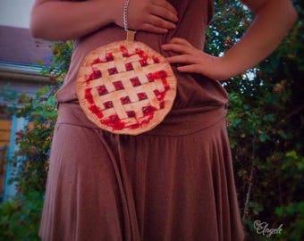 Cherry pie purse food bags unique handbags fall summer fruit baked goods fashion