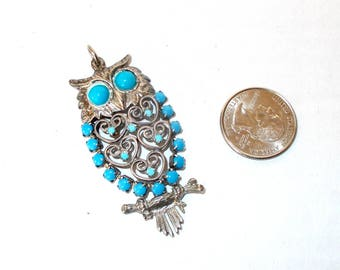 Turquoise Silver Owl Pendent, Owl Pendent, Silver Owl Pendent, Silver Owl Necklace Pendent, Owl Necklace Pendent, Silver Owl Necklace, Owl