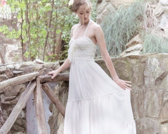 Sale Wedding Dress, Ivory Lace Gown, Lace Wedding Gown, Long  Gown, Bohemian Dress, Βοhο Bridal Dress, Beach Bridal Gown, Handmade Gown
