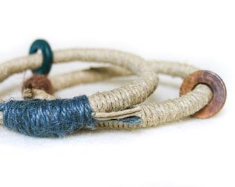 Blue and brown Boho Bracelets Bangles Stacking Bangles Hippie chic Fiber Bracelets Eco-friendly Fiber Jewelry