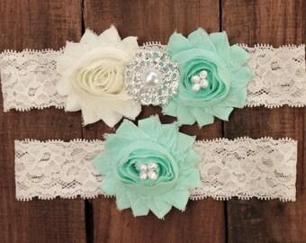 Mint Garter Set - Mint Wedding Garder, Lace Wedding Garter Mint Garder Plus size Garter Seafoam Garter Seafoam Wedding Mint Green Garderbelt