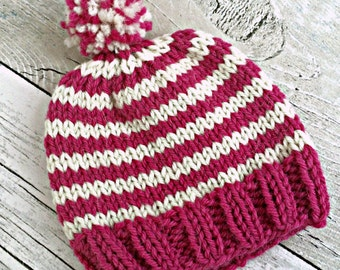 Newborn Hat, Preemie Girl Hat, Baby Pom Pom Hat, Newborn Hospital Hat, Coming Home Outfit Hat, Newborn Beanie Girl Baby Shower Gift