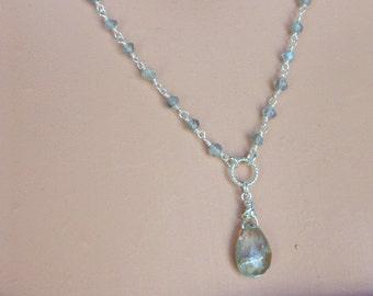 Oregon Sunstone Pendant with Labradorite and Sterling Silver Chain Sunstone and Labradorite Necklace & Sterling Silver Unique Sunstone N0659