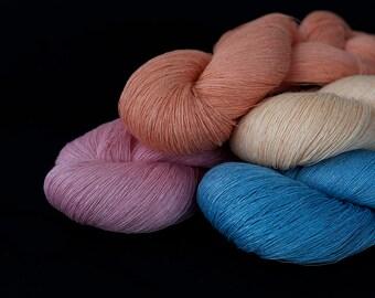 Set of 4 linen thread skeins - light blue, pink, cream, peach