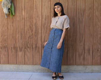 SALE - Denim Snap Skirt, Ready to Ship