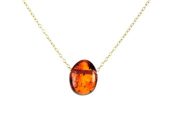 Amber necklace - baltic amber - drop necklace - fossil necklace - a drop of baltic amber on a 14k gold vermeil or sterling silver chain