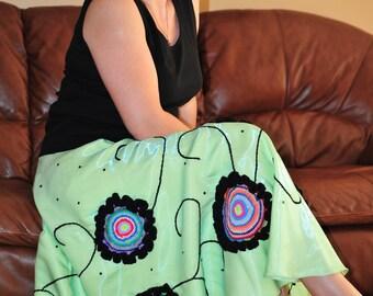 Long boho skirt, green, womens clothing, hippie boho skirt, crazy, funky, boho gypsy clothing, long gypsy circle skirt MADE TO ORDER