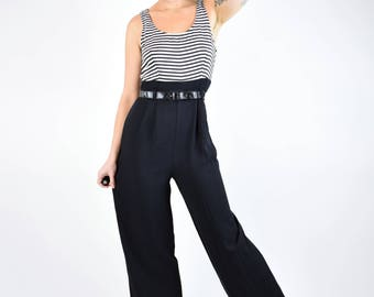 VTG 80s 90s Black and White Striped Pinstripe Empire Waist Wide Leg Jumpsuit 5
