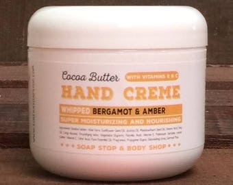Bergamot and Amber Handmade Cocoa Butter Hand Creme - One 4oz Tub