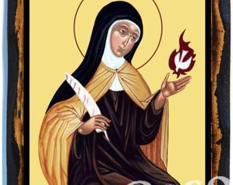 Saint Teresa of Ávila Christian Roman Catholic Handmade wood icon on plaque