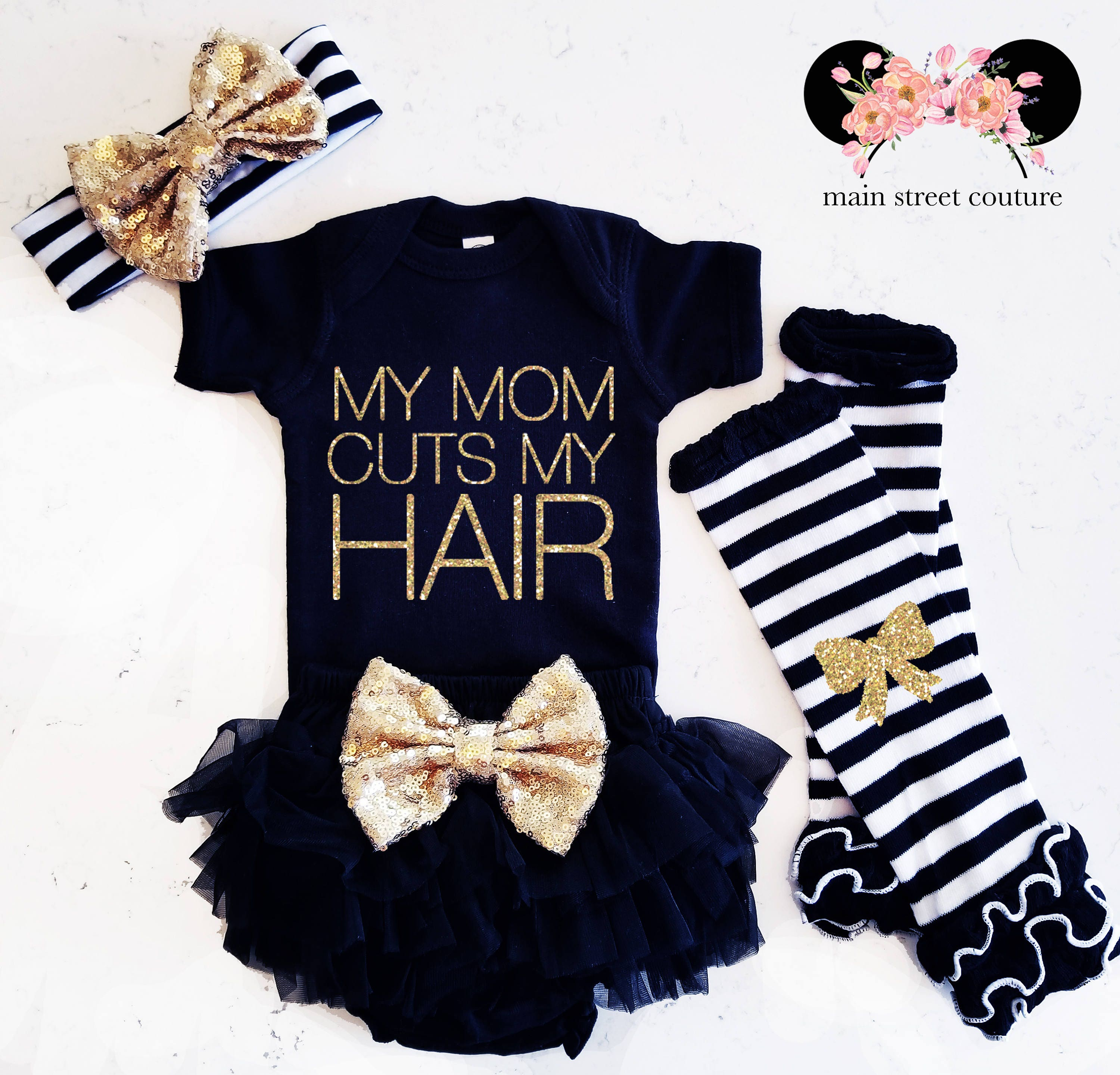Baby Girl Clothes My Mom Cuts My Hair Shirt Sparkle Shirt Baby