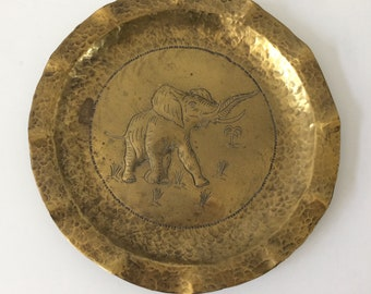 vintage hammered brass elephant tray / Boho