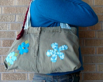 SALE Upcycled Pants Blue Flowers Recycled Butt Bag SALE