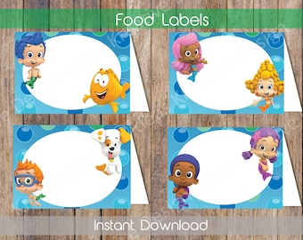 Bubble Guppies Food Labels Bubble Guppies Food Tent Labels Bubble Guppies Candy Labels Bubble Guppies Name Cards Printable INSTANT DOWNLOAD