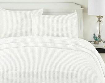 White honeycomb Duvet cover 100% Egyptian Cotton