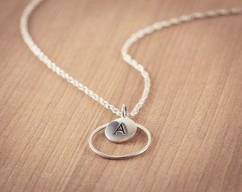 Letter with Circle Necklace, Initial Necklace, Personalized Necklace, Name, Sterling Silver, Circle Disc Charm